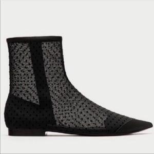 Zara Mesh Polka Dot Flat Ankle Boots